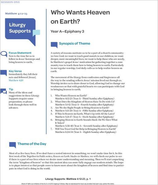 Heaven on Earth Liturgy and Preaching Supports: Studies in Matthew