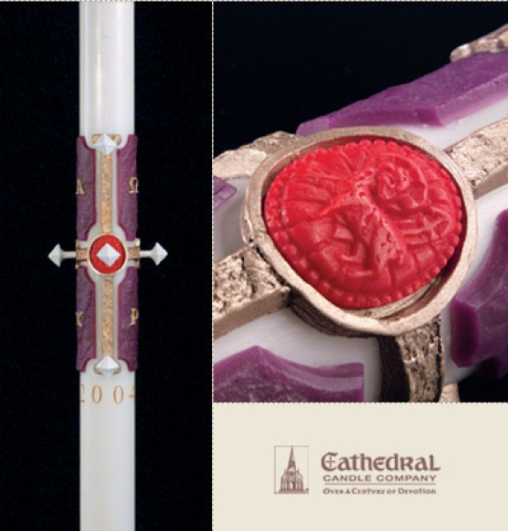 Cross of the Lamb Paschal Candle, 1-15/16 x 39, Plain End